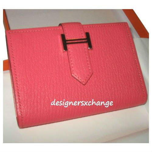Hermes Bearn Card Wallet Rose Lipstick Chevre Mysore (Goat Leather) Palladium Brand New (with Hermes receipt)