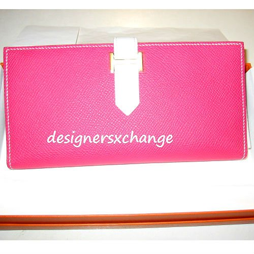 Hermes Rose Tyrien with White Bicolor Gusset Chevre (L stamp) Mysore Bearn Long Wallet Brand New (O stamp)