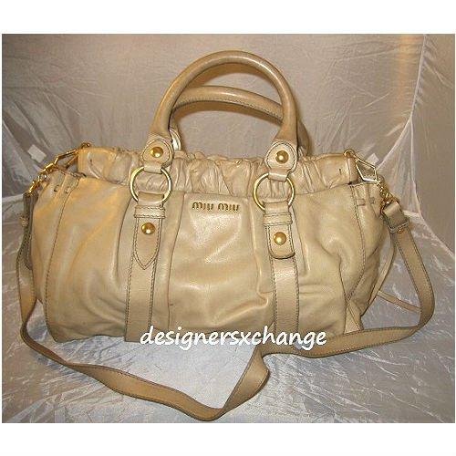 Miu Miu Beige Vitello Lux Calf Leather Satchel Bag with Long strap
