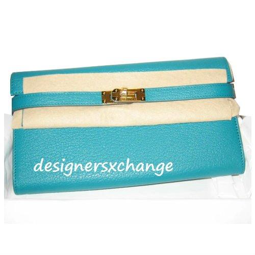 Hermes Blue Paon Chevre Mysore Kelly Long Wallet Gold Hardware Brand New(photocopy receipt)