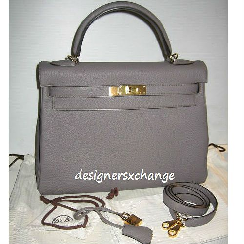 Hermes Kelly 32 Etain Togo Leather with Gold Hardware Brand New with Hermes 2017 Receipt