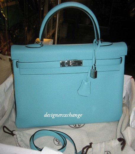 Hermes Kelly 35 Blue Atoll Togo Leather  with Palladium