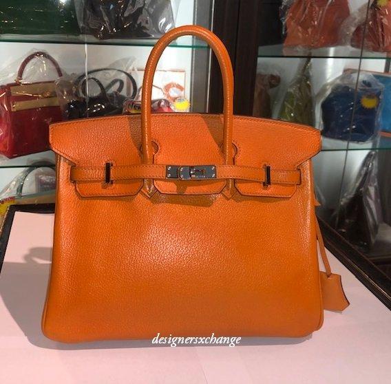 Hermes Birkin 25 Orange Chevre (Goat) Leather Palladium Hardware (K stamp)