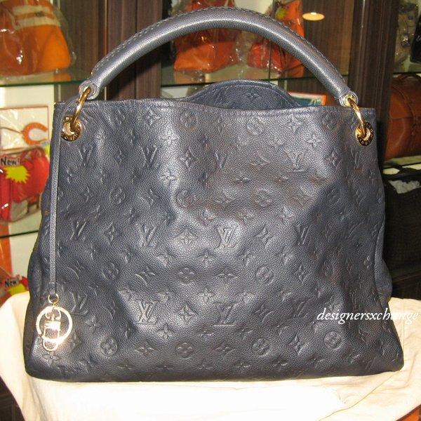 Louis Vuitton Navy (Blue Infini) Artsy Monogram Empreinte Leather MM Shopper Tote (M93448)